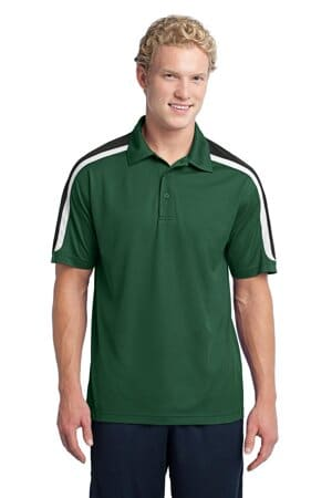 sport-tek tricolor shoulder micropique sport-wick polo st658