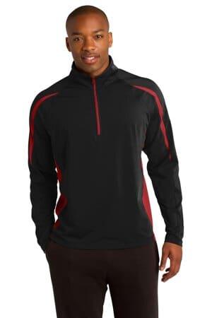 ST851 sport-tek sport-wick stretch 1/2-zip colorblock pullover