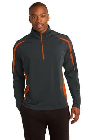 sport-tek sport-wick stretch 1/2-zip colorblock pullover st851