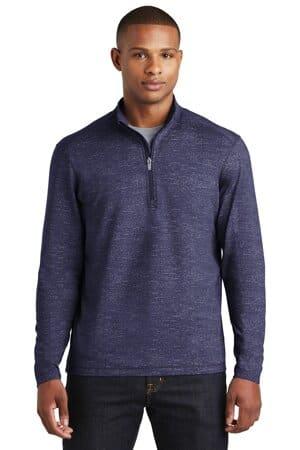 ST855 sport-tek sport-wick stretch reflective heather 1/2-zip pullover