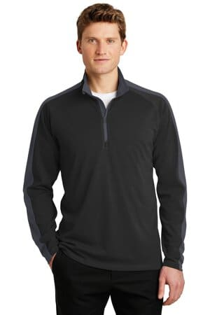 ST861 sport-tek sport-wick textured colorblock 1/4-zip pullover