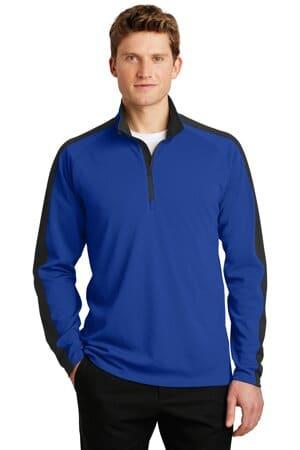 sport-tek sport-wick textured colorblock 1/4-zip pullover st861