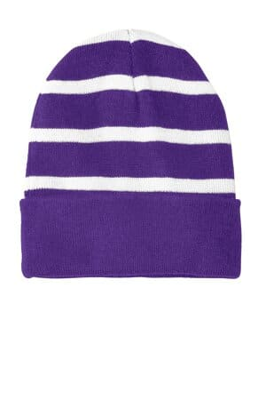 STC31 sport-tek striped beanie with solid band stc31