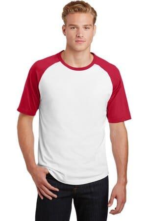 T201 sport-tek short sleeve colorblock raglan jersey