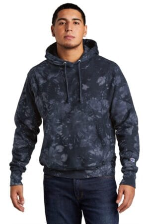 TDS101 champion reverse weave scrunch-dye tie-dye hooded sweatshirt
