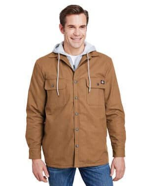 TJ203 Dickies men's hooded duck quilted shirt jacket