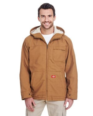 TJ350 Dickies 85 oz sanded duck sherpa lined hooded jacket