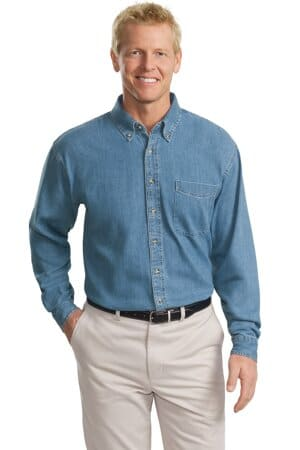 port authority tall long sleeve denim shirt tls600