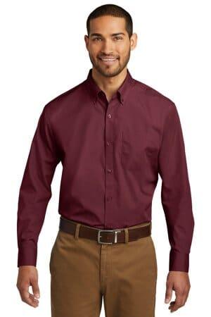 port authority long sleeve carefree poplin shirt w100