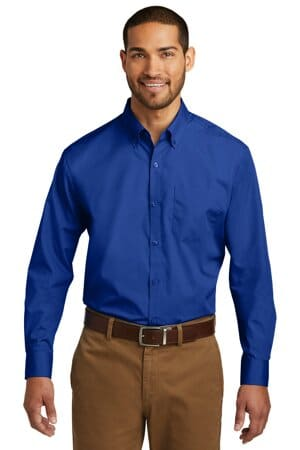 port authority long sleeve carefree poplin shirt w100
