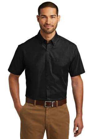 port authority short sleeve carefree poplin shirt w101