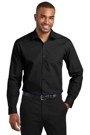 port authority slim fit carefree poplin shirt w103