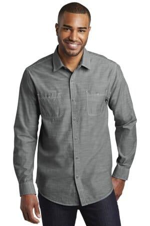 W380 port authority slub chambray shirt w380