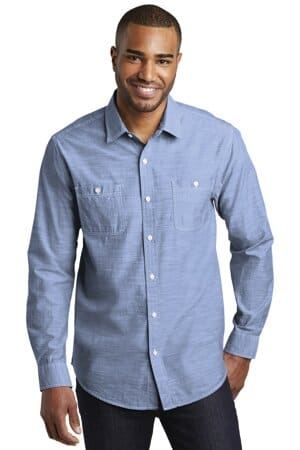 W380 port authority slub chambray shirt w380