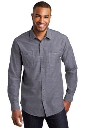 W380 port authority slub chambray shirt