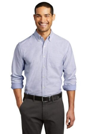 W657 port authority superpro oxford stripe shirt