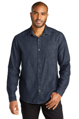W676 port authority long sleeve perfect denim shirt