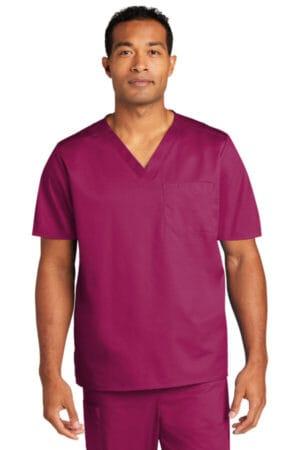 WW3160 wonderwink unisex workflex chest pocket v-neck top