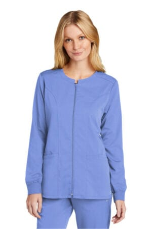 WW4088 wonderwink women's premiere flex full-zip scrub jacket