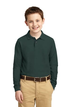 port authority youth long sleeve silk touch polo y500ls