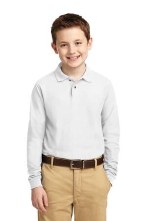 Y500LS port authority youth long sleeve silk touch polo