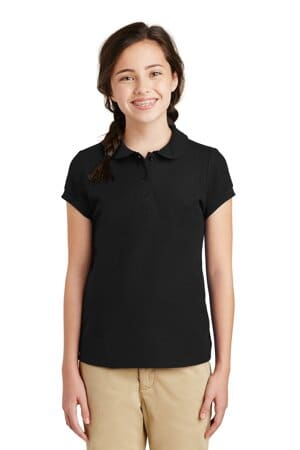 port authority girls silk touch peter pan collar polo yg503