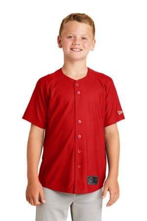 new era youth diamond era full-button jersey ynea220