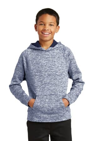 sport-tek youth posicharge electric heather fleece hooded pullover yst225