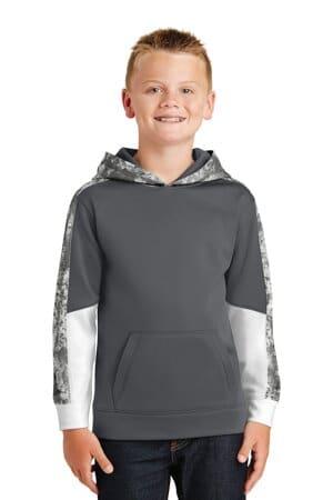 sport-tek youth sport-wick mineral freeze fleece colorblock hooded pullover yst231