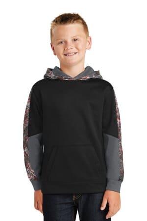 YST231 sport-tek youth sport-wick mineral freeze fleece colorblock hooded pullover