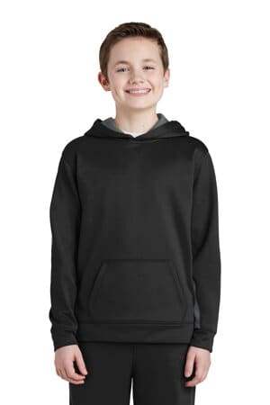 sport-tek youth sport-wick fleece colorblock hooded pullover yst235