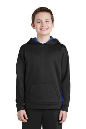 YST235 sport-tek youth sport-wick fleece colorblock hooded pullover
