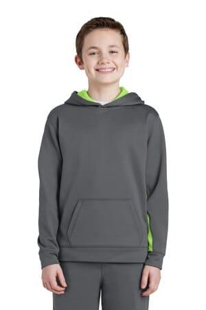 sport-tek youth sport-wick fleece colorblock hooded pullover yst235