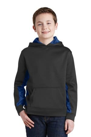 sport-tek youth sport-wick camohex fleece colorblock hooded pullover yst239