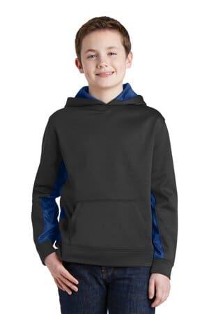 YST239 sport-tek youth sport-wick camohex fleece colorblock hooded pullover