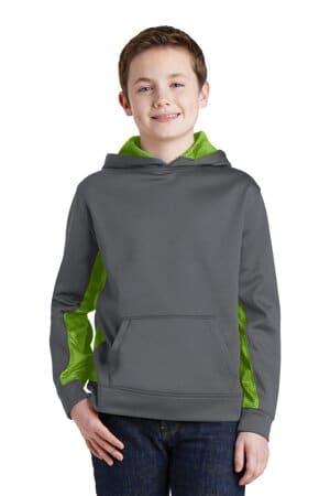 sport-tek youth sport-wick camohex fleece colorblock hooded pullover yst239
