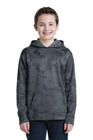 sport-tek youth sport-wick camohex fleece hooded pullover yst240