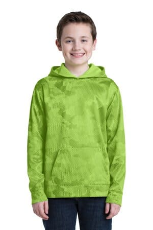 sport-tek youth sport-wick camohex fleece hooded pullover yst240