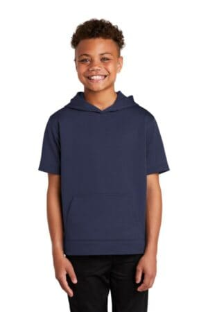sport-tek youth sport-wick fleece short sleeve hooded pullover yst251