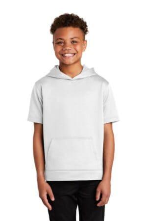 sport-tek youth sport-wick fleece short sleeve hooded pullover yst251