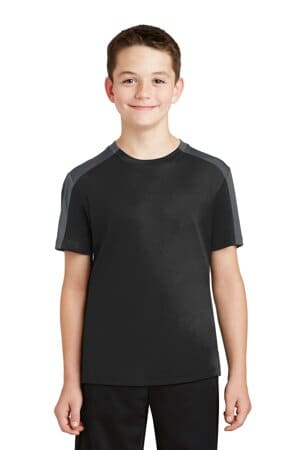sport-tek youth posicharge competitor sleeve-blocked tee yst354
