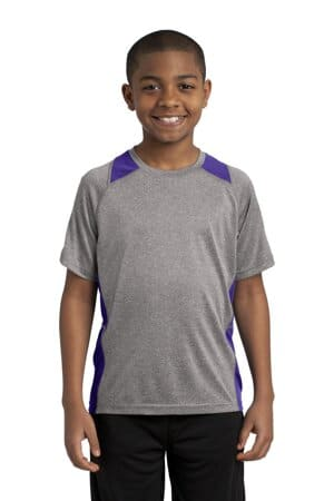 sport-tek youth heather colorblock contender tee yst361