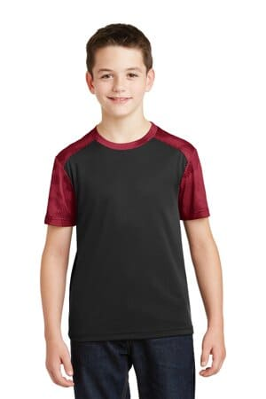 YST371 sport-tek youth camohex colorblock tee yst371