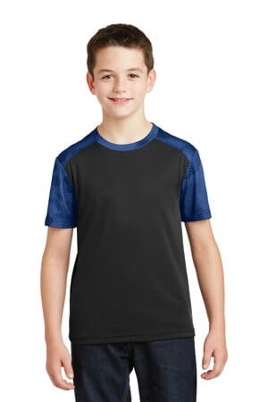 YST371 sport-tek youth camohex colorblock tee yst371