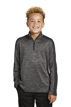 sport-tek youth posicharge electric heather colorblock 1/4-zip pullover yst397