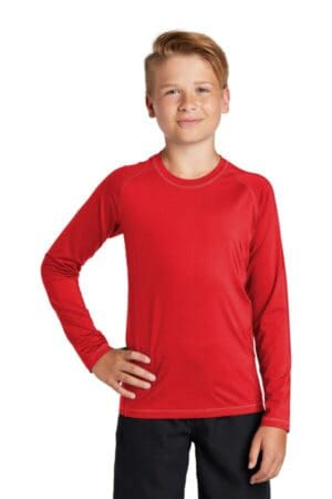 sport-tek youth long sleeve rashguard tee yst470ls