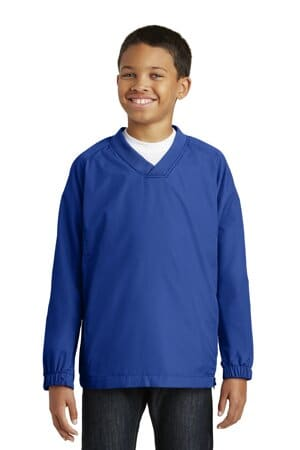 YST72 sport-tek youth v-neck raglan wind shirt yst72