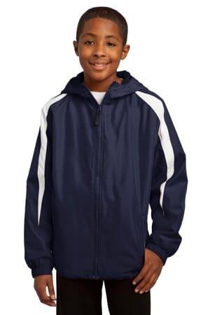 YST81 sport-tek youth fleece-lined colorblock jacket