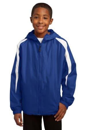 sport-tek youth fleece-lined colorblock jacket yst81