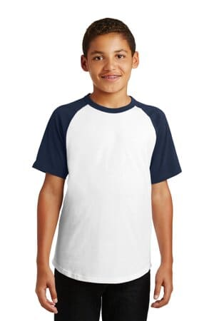 YT201 sport-tek youth short sleeve colorblock raglan jersey
